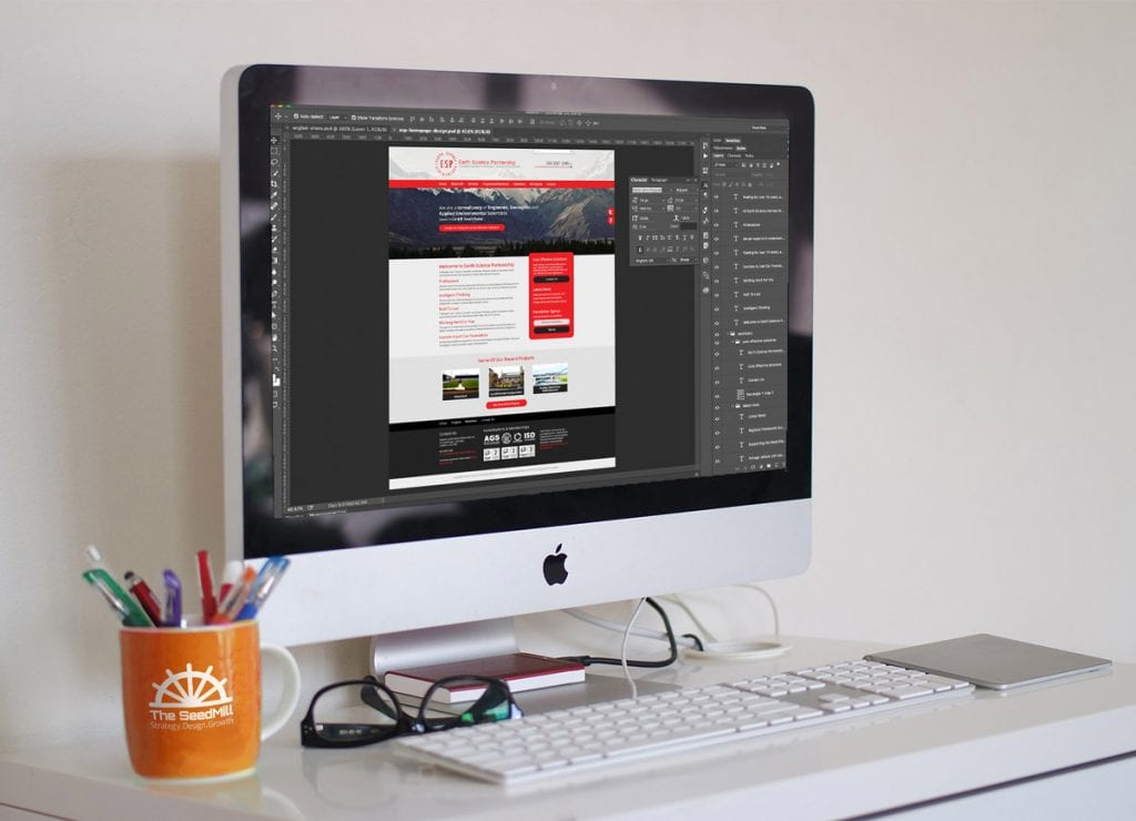 ESP Website being designed in Photoshop on an imac