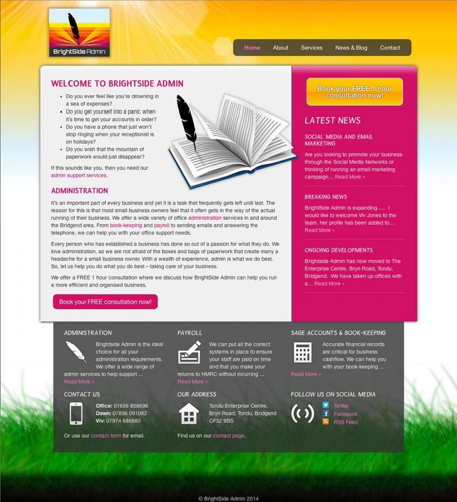 BrightSide Admin - Web Design - Website Homepage