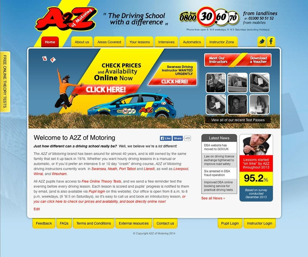 A2Z of Motoring - Web Design - Website Homepage