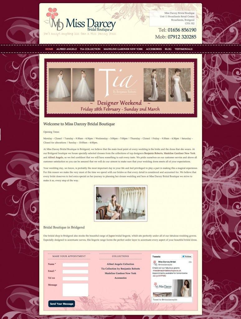 Miss Darcey Bridal Boutique - Web Design - Website Homepage