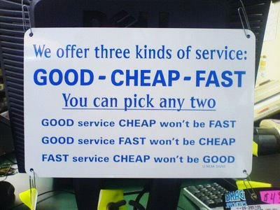 Good, Fast and Cheap sign