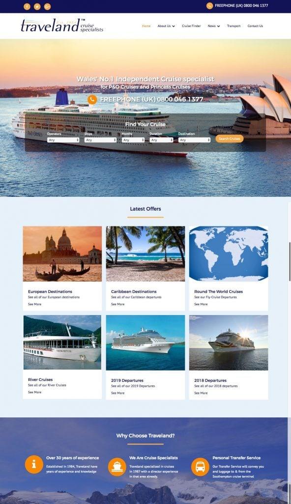 traveland website design homepage crop