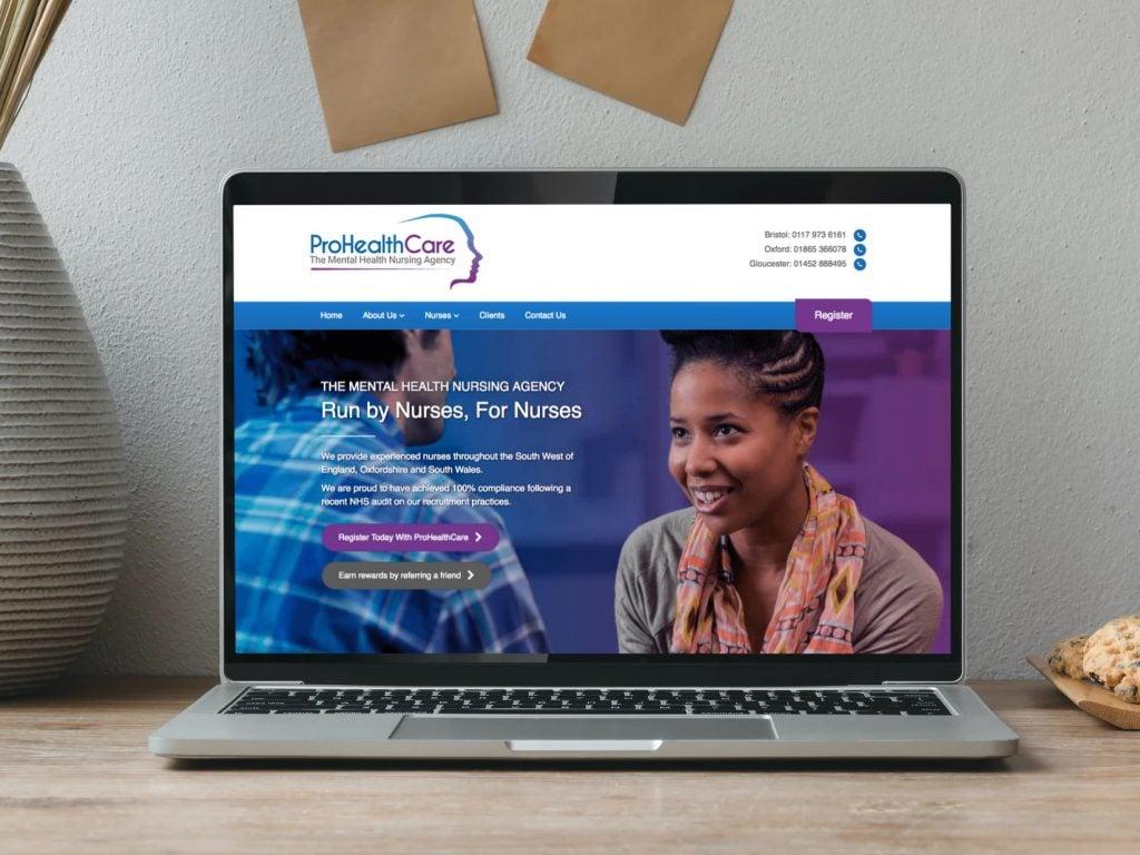 ProHealthCare Website on Laptop