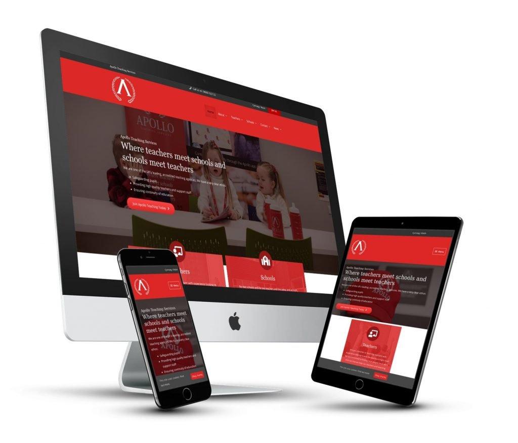 Apollo Teaching Website desktop tablet and phone screens 3