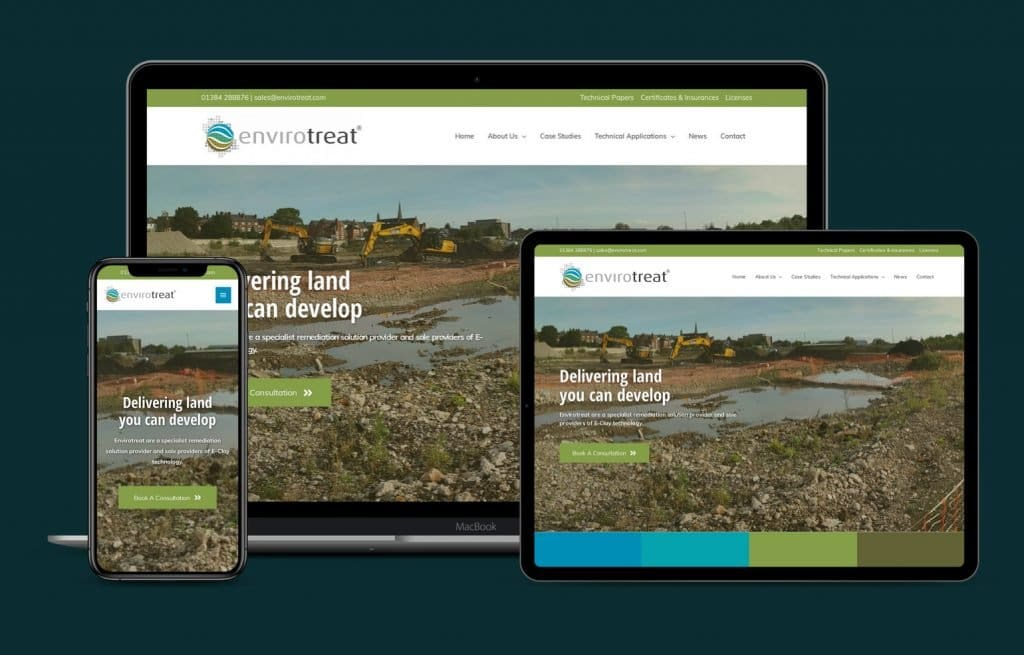 Envirotreat website mockups on multiple devices 2